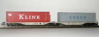 "Rocky-Rail 60112 - AAE Sggmrss 90 mit Container ""Kline"" rot + Container ""Cosco"" grau"
