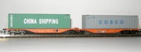 "Rocky-Rail 60132 - Wascosa Sggmrss 90 mit Container ""China Shipping"" grün + Container ""Cosco"" grau"