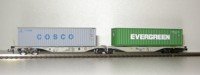 "Rocky-Rail 60143 - AAE Sggmrss 90 mit Container ""Cosco"" grau + Container ""Evergreen"" grün"