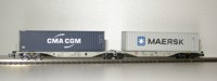 "Rocky-Rail 60146 - AAE Sggmrss 90 mit Container ""CMA CGM"" blau + Container ""Maersk"" grau"